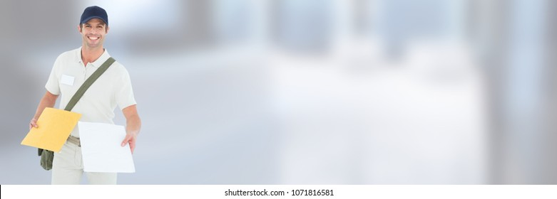 Delivery Courier holding form in front of blurred background