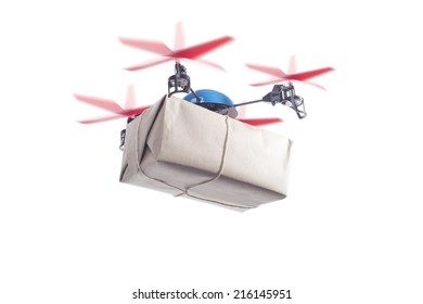 Delivery drone with packet flying. instant shipping concept, same day delivery