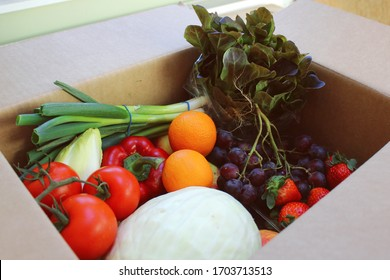 Delivery food box of organic fresh fruits and vegetables. Cabbage, tomatoes, grapes, lettuce, strawberries, peppers, chicory and spring onions.