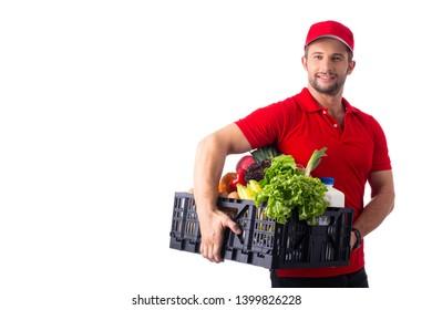 Delivery food service team holding black basketfor send to customer