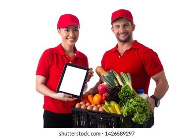 Delivery food service team holding black basket for send to customer