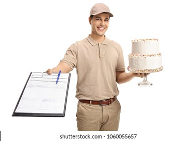 Delivery guy with a clipboard and a cake isolated on white background