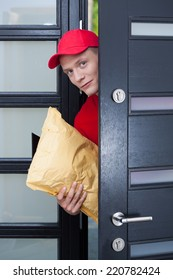 Delivery guy coming through the front door