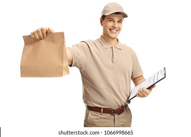 Delivery guy holding a paper bag and a clipboard isolated on white background