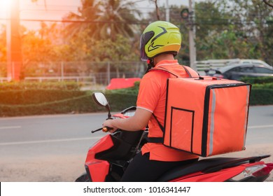 Delivery man backpack using motorcycles