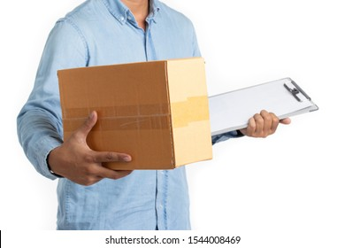 Delivery man in blue shirt holding cardboard boxes and clipboard isolated on white background. Express and delivery concept.