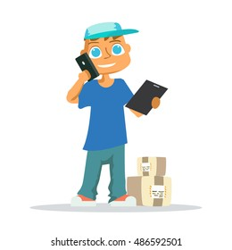 Delivery man in blue uniform holding boxes and documents in different poses. illustration