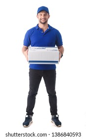 Delivery man in blue uniform of delivery service, online shopping delivery concept