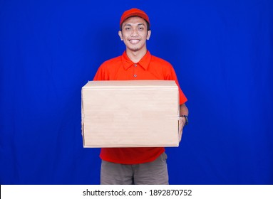 Delivery Man delivery box to customer isolated blue background
