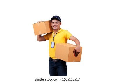 delivery man with cardboard boxes. delivery, mail, people and shipment concept