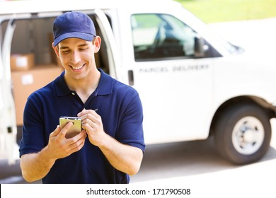 Delivery: Man Checking Portable Delivery Device