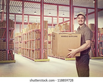 delivery man in  classic warehouse