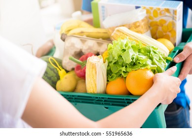 Delivery man delivering food to a woman - online grocery shopping service concept