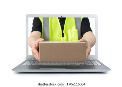 Delivery man delivering a parcel comes out from a screen of a laptop computer isolated on white background. e-commerce concept.