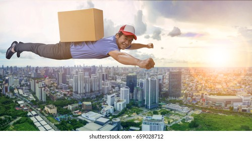 delivery man flying over city scape with container box on back, for logistic and shipping cargo service business