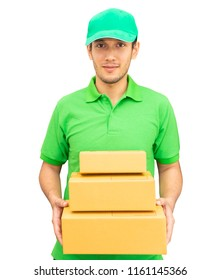 Delivery man in Green is handing packages isolated on white