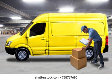 Delivery man holding clipboard for checklist and writing at parcel boxes with delivery van at logistics and shipping store