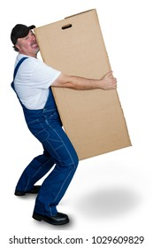 Delivery man lifting heavy cardboard box against white background