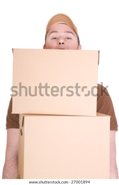 delivery man with a package isolated on white background