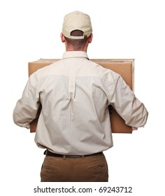 delivery man with parcel rear view isolated on white