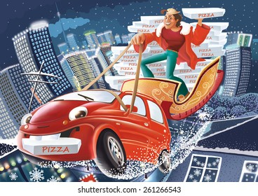 Delivery man with the pizza in his hand standing on the sleigh and driving the red car, boxes with pizza and night's town behind him.