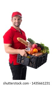 Delivery man prepare for send food material to customer.