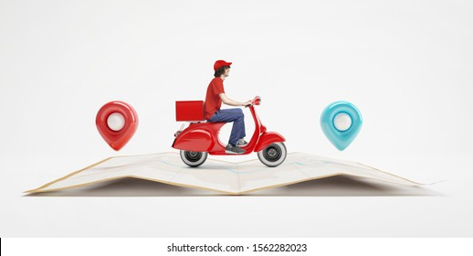 Delivery man with red uniform driving scooter on paper map with red and blue location pin.