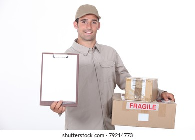 Delivery man requesting signature