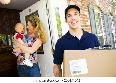 Delivery: Man Taking Package from Home