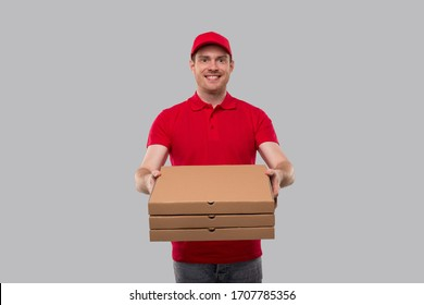 Delivery Man Three Pizza Box in Hands. Red Tshirt Delivery Boy.