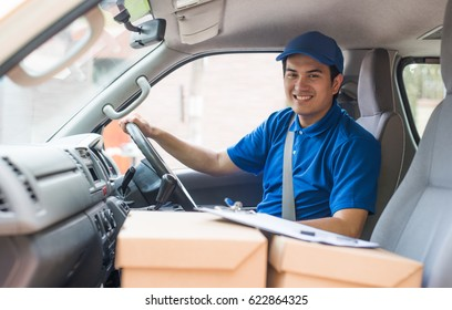 Delivery man in truck