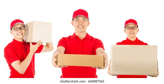 Delivery man worker in red uniform with white background.