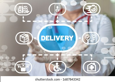 Delivery Medicine Pharmacy Online Technology. Medical Aid Drone Emergency Transportation Concept.