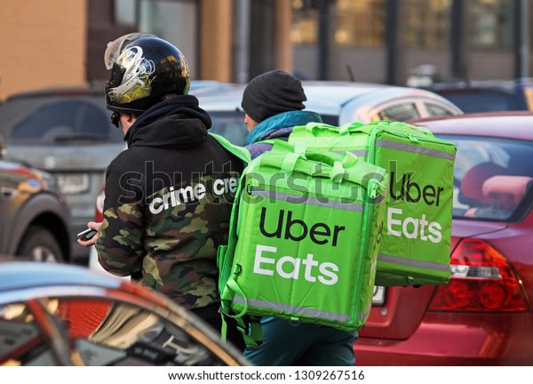 Delivery Men Carry Food Uber Eats Stock Photo (Edit Now