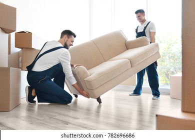 Delivery men moving sofa in room at new home
