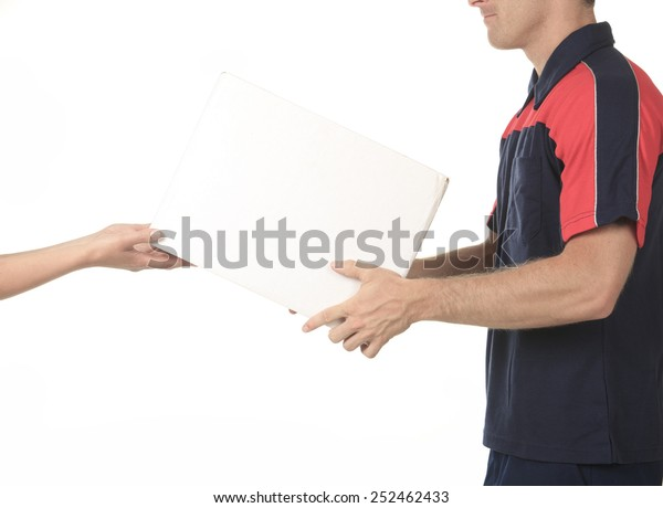 Delivery person delivering packages holding clipboard and package