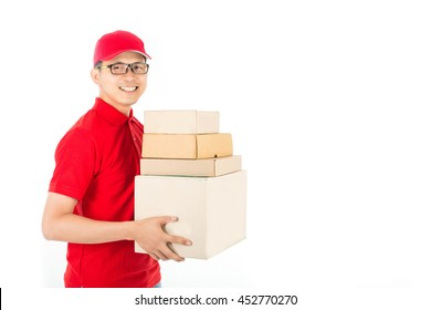 Delivery service to customer receiving package.