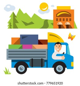 Delivery service. Flat style colorful Cartoon illustration.