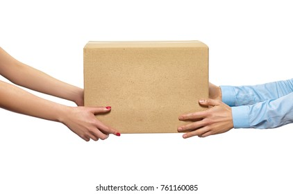 Delivery service. Handing the delivered parcel by courier.