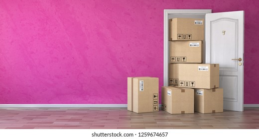 Delivery service or moving concept.. Cardboard boxes front of entrance open door. 3d illustration