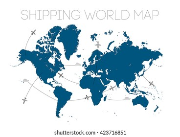delivery shipping world map illustration