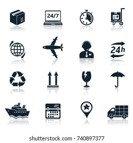 Delivery and transportation icons with reflections