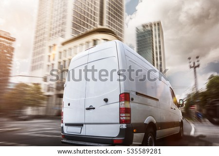 Delivery truck in a city
