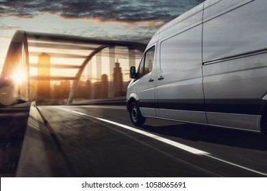 Delivery truck delivers in city