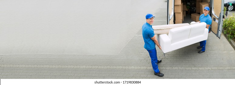 Delivery Truck Movers Moving Furniture Loading Van
