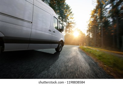 Delivery truck on a country road