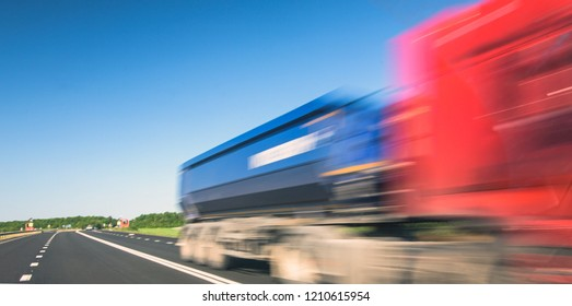 Delivery truck on highway with blurred speed effect
