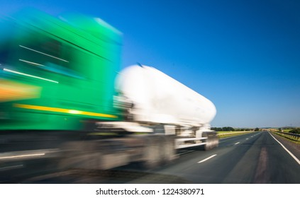 Delivery truck on highway with blurred effect