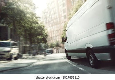 Delivery van in the city