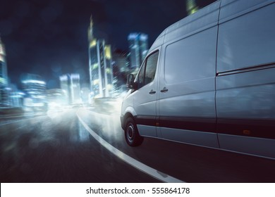Delivery van drives at night